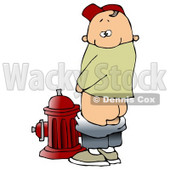 Mischievious Caucasian Boy Baring His Buns While Urinating On a Fire Hydrant And Looking Back At The Viewer Clipart Illustration © Dennis Cox #17745