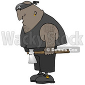 Hairy African American Man, An Executioner, Wearing A Band Around His Eyes And Carrying An Axe Clipart Illustration © djart #17746