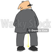 Caucasian Business Man Urinating And Looking Back Over His Shoulder Clipart Illustration © djart #17747