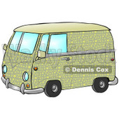 Cool Green And Yellow Hippie Van With Patterns Of Moon And Stars Clipart Illustration © djart #17749