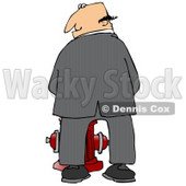 Mischievious Caucasian Businessman Urinating On A Fire Hydrant And Looking Back Over His Shoulder Clipart Illustration © djart #17750