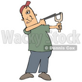 Caucasian Man In A Red Hat, Green Shirt And Blue Pants, Aiming With A Sling Shot Clipart Illustration © djart #17751