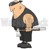 Hairy Caucasian Man, An Executioner, Wearing A Band Around His Eyes And Carrying An Axe Clipart Illustration © djart #17752