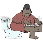 Clipart Illustration of a Middle Aged African American Woman In A Pink Robe, Sitting On A Toilet In A Bathroom And Shaving Her Leg © Dennis Cox #17869