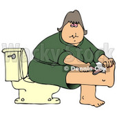 Clipart Illustration of a Middle Aged Caucasian Woman In A Green Robe, Sitting On A Toilet In A Bathroom And Shaving Her Leg © Dennis Cox #17870