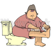 Clipart Illustration of a Middle Aged Caucasian Woman In A Pink Robe, Sitting On A Toilet In A Bathroom And Shaving Her Hairy Leg © djart #17871
