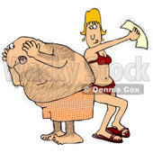 Clipart Illustration of a Middle Aged Hairy Caucasian Man In Shorts Screaming In Pain As A Blond Woman Peels Off A Wax Strip From His Back © Dennis Cox #17872