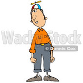 Clipart Illustration of a Nerdy Caucasian Man With Buck Teeth, Wearing A Spinner Hat, Orange Shirt And Pants And Looking To The Side © djart #17873