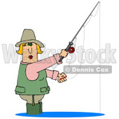 Clipart Illustration of a Blond White Lady Wading in Water and Fishing © Dennis Cox #18278