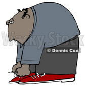 Clipart Illustration of a Bald Hispanic Man Bending Over to Tie His Shoe Laces © Dennis Cox #18279