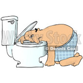 Clipart Illustration of a Sick White Man Resting His Head on the Toilet Bowl After Puking © Dennis Cox #18281