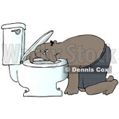Clipart Illustration of a Sick Black Man Resting His Head on the Toilet Bowl After Puking © Dennis Cox #18282