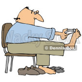 Clipart Illustration of a Bald White Man Sitting in a Chair and Clipping His Toe Nails © djart #18284