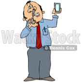 Clipart Illustration of a White Businessman Holding a Mirror and Trimming His Nose Hairs © Dennis Cox #18286