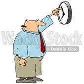 Clipart Illustration of a White Businessman, Anxious to End the Work Day, Moving the Hands of a Wall Clock © Dennis Cox #18287