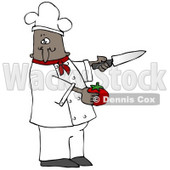 Clipart Illustration of a Black Male Chef in a Red Collared Chefs Jacket and White Hat, Preparing to Slice a Tomato While Cooking in a Kitchen © djart #18309