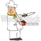 Clipart Illustration of a White Male Chef in a Green Collared Chefs Jacket and White Hat, Preparing to Slice a Tomato While Cooking in a Kitchen © Dennis Cox #18310