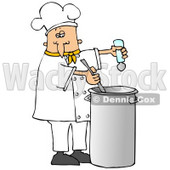 Clipart Illustration of a White Male Chef In A Yellow Collared Chefs Jacket And White Chef Hat, Seasoning Soup With A Salt Shaker And Stirring It While Cooking In A Kitchen © Dennis Cox #18312