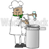 Clipart Illustration of a French or Hispanic Male Chef In A Green Collared Chefs Jacket And White Chef Hat, Seasoning Soup With A Salt Shaker And Stirring It While Cooking In A Kitchen © Dennis Cox #18313