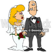 Clipart Illustration of a Blond White Bride In Her Wedding Dress, Standing By The Groom © Dennis Cox #18401