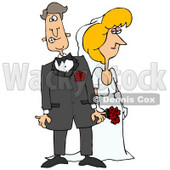 Clipart Illustration of a Blond White Bride In Her Dress, Standing Beside Her Nervous Groom © Dennis Cox #18402