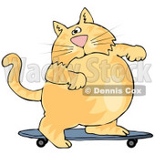Clipart Illustration of a Fat Orange Cat Skateboarding On A Blue Skateboard © Dennis Cox #18403