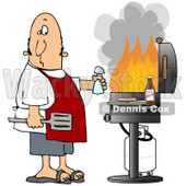 Clipart Illustration of a Confused White Man Holding A Salt Shaker And Watching As The Flames Get High On His Bbq Grill © Dennis Cox #18404