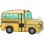 Clipart Illustration of a Friendly Bus Driver Driving Happy School Children To School On A Yellow School Bus © Dennis Cox #18405