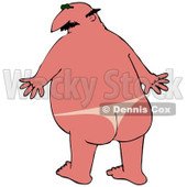 Clipart Illustration of a Chubby Bald White Man With A Bad Sunburn And Tan Lines Where His Speedo Was © Dennis Cox #18409