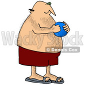 Clipart Illustration of a Hairy, Chubby White Man In Red Swimming Trunks, Holding A Blue Ball And Playing At The Beach © Dennis Cox #18442