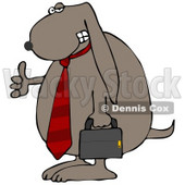 Clipart Illustration of a Cool Dog Wearing A Red Business Tie And Carrying A Briefcase © Dennis Cox #18443
