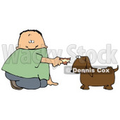 Clipart Illustration of a White Boy Kneeling To Feed A Brown Dog Human Food © Dennis Cox #18446