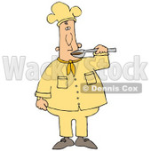 Clipart Illustration of a White Male Chef Preparing to Taste Food From a Spoon © Dennis Cox #18566