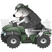 Clipart Illustration of a Cool Border Collie Wearing A Vest And Driving A Green ATV © Dennis Cox #18753