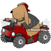 Clipart Illustration of a Cool Hound Dog Wearing A Vest And Driving A Bright Red ATV © Dennis Cox #18754