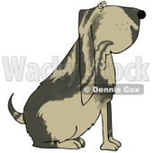 Clipart Illustration of a Big Bloodhound Dog With A Marble Patterned Coat © Dennis Cox #18755