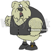 Clipart Illustration of a Tough Bulldog Wearing A Vest And Looking Angrily At The Viewer © Dennis Cox #18756