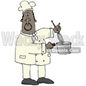 Clipart Illustration of a Black Male Chef Stirring Food in a Pot With a Whisk © Dennis Cox #18760