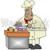 Clipart Illustration of a Mexican Male Chef Crying While Slicing Purple Onions © djart #18762