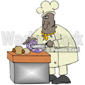 Clipart Illustration of a Black Male Chef Crying While Slicing Purple Onions © djart #18764