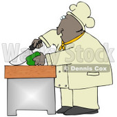 Clipart Illustration of a Black Male Chef Carefully Slicing a Green Bell Pepper © Dennis Cox #18765