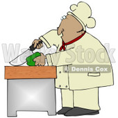 Clipart Illustration of a Mexican Male Chef Carefully Slicing a Green Bell Pepper © Dennis Cox #18766