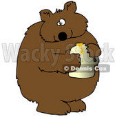 Clipart Illustration of a Wild Brown Bear Holding A Honey Jar And Looking At The Viewer After Being Caught Stealing © Dennis Cox #18767