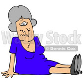 Clipart Illustration of a Gray Haired Lady In A Blue Dress, Dazed And Confused, Sitting On The Floor After Taking A Nasty Fall And Injuring Herself At The Office © Dennis Cox #18768