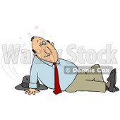 Clipart Illustration of a Dazed And Confused Businessman, Seeing Stars And Sitting On The Floor After Taking A Nasty Fall And Injuring Himself At The Office © djart #18769