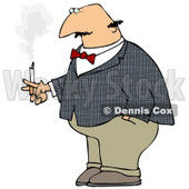 Clipart Illustration of a Bald Middle Aged Man Lost In Thought While Smoking A Cigarette © Dennis Cox #18770