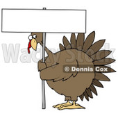 Clipart Illustration of a Plump Brown Turkey Bird On A Farm, Looking Nervously Around The Pole Of A Blank Sign That He's Holding © Dennis Cox #18850