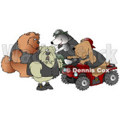 Clip Art Graphic of a Border Collie Wearing A Vest And Driving A Green Atv Beside A Bloodhound On A Red Quad, Chatting With A Tough Bulldog And Chow Chow © Dennis Cox #18851