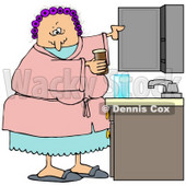 Clipart Illustration of a White Woman With Her Hair In Purple Curlers, Wearing A Pink Robe And Pjs, Putting Medicine Back In The Cabinet In Her Bathroom © Dennis Cox #18853