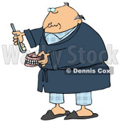 Clipart Illustration of an Old Balding White Man In Blue Pjs And A Robe, Putting Glue On Or Brushing His False Teeth And Dentures © Dennis Cox #18854